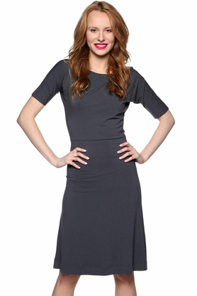 Sukienka z rękawkami szara PROJEKTANT Yuliya Babich