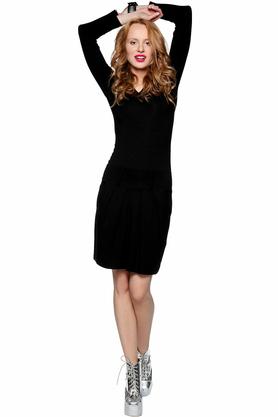 Sukienka ze szlufkami czarna PROJEKTANT Yuliya Babich