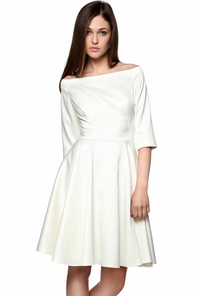 Sukienka łódka biała PROJEKTANT Inspiracja Butik