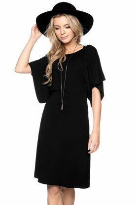 Sukienka z szerokimi rękawkami czarna PROJEKTANT Yuliya Babich