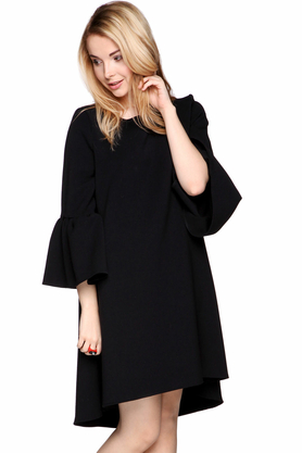 Sukienka z rękawami czarna PROJEKTANT Monika Nera