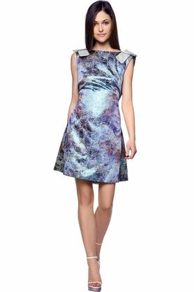 Sukienka z połyskiem niebieska PROJEKTANT Monika Błotnicka