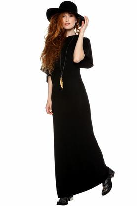 Sukienka maxi z szerokimi rękawkami czerń PROJEKTANT Yuliya Babich