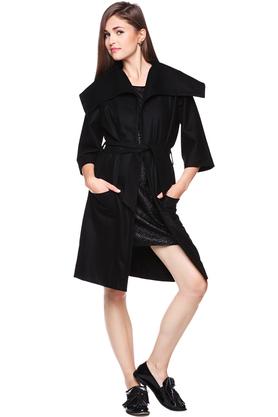 Płaszcz wiązany czarny PROJEKTANT Yuliya Babich