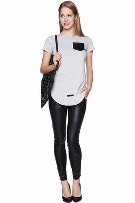 T-shirt z kieszonką szary PROJEKTANT Yuliya Babich