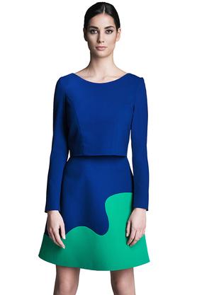 Spódnica trapezowa kobaltowo-zielona PROJEKTANT Rina Cossack