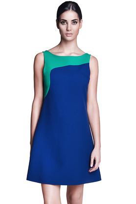Sukienka trapezowa kobaltowo-zielona PROJEKTANT Rina Cossack