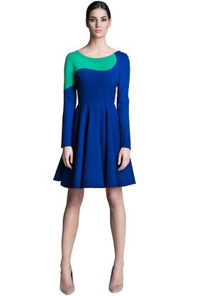 Sukienka z długim rękawem kobaltowo-zielona PROJEKTANT Rina Cossack