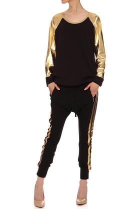 Bluza ze złotymi rękawami czarna PROJEKTANT Yuliya Babich