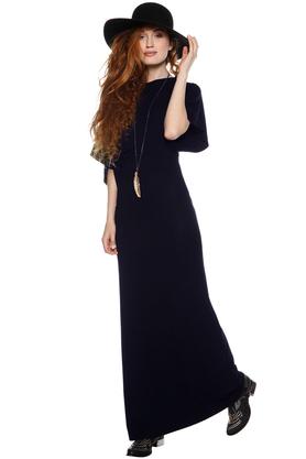 Sukienka maxi z szerokimi rękawkami granatowa PROJEKTANT Yuliya Babich