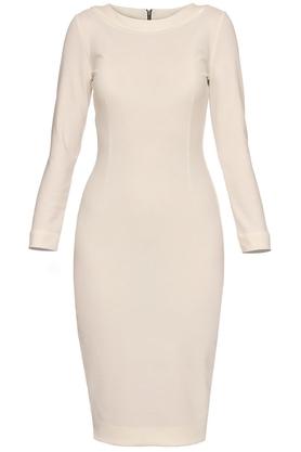 Sukienka midi ołówkowa ecru PROJEKTANT Yuliya Babich