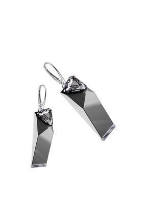 Kolczyki Big Ring Crystal szare PROJEKTANT OSTROWSKI DESIGN