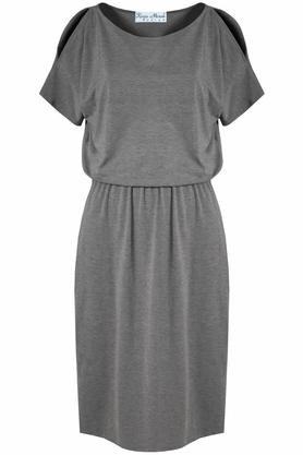 Sukienka z odkrytymi ramionami szara PROJEKTANT Kasia Miciak