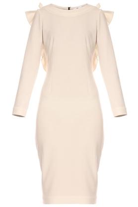 Sukienka z ozdobnym tyłem ecru PROJEKTANT Yuliya Babich
