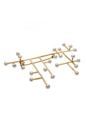 Broszka złota perła PROJEKTANT FROU-FROU