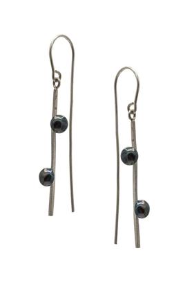 Kolczyki srebrne dwie perły III PROJEKTANT FROU-FROU