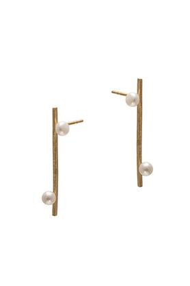 Kolczyki złote dwie perły PROJEKTANT FROU-FROU