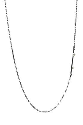 Naszyjnik srebrny dwie perły PROJEKTANT FROU-FROU