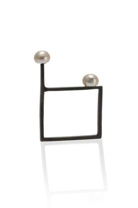 Pierścionek srebrny dwie perły PROJEKTANT FROU-FROU