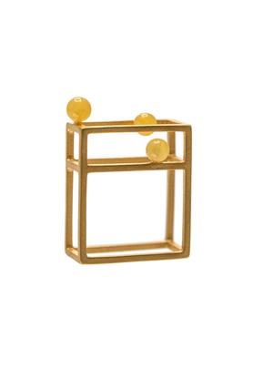 Pierścionek złoty bursztyn PROJEKTANT FROU-FROU