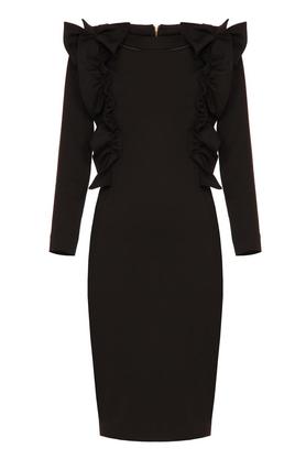 Sukienka z ozdobnym przodem czarna I PROJEKTANT Yuliya Babich