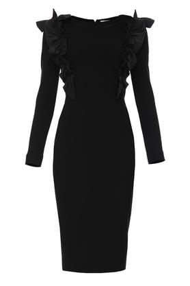 Sukienka z ozdobnym przodem czarna II PROJEKTANT Yuliya Babich