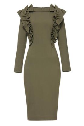 Sukienka z ozdobnym przodem khaki PROJEKTANT Yuliya Babich
