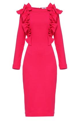Sukienka z ozdobnym przodem różowa PROJEKTANT Yuliya Babich