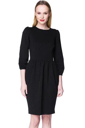 Sukienka z bufkami czarna PROJEKTANT Kasia Miciak