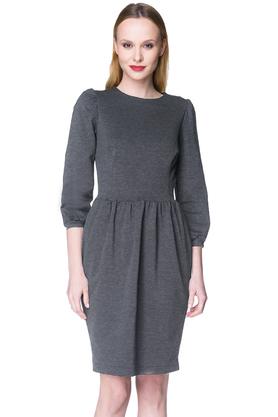 Sukienka z bufkami szara PROJEKTANT Kasia Miciak