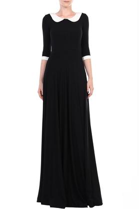 Sukienka długa z kołnierzykiem czarna PROJEKTANT Yuliya Babich