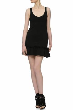 Sukienka mini z falbaną czarna I PROJEKTANT Yuliya Babich