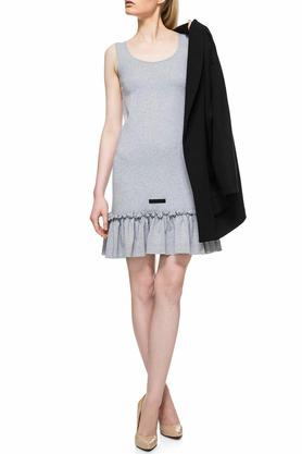 Sukienka mini z falbaną szara PROJEKTANT Yuliya Babich