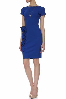 Sukienka z aplikacją niebieska PROJEKTANT Yuliya Babich
