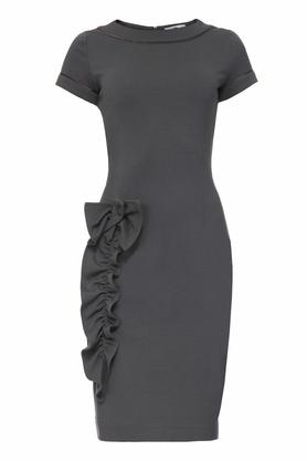 Sukienka z aplikacją szara I PROJEKTANT Yuliya Babich
