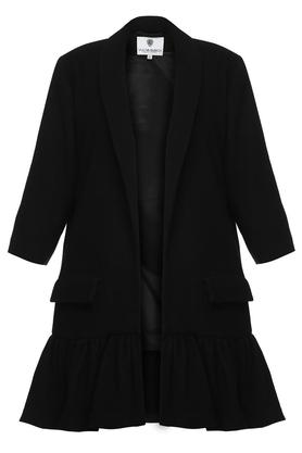 Płaszcz z falbaną czarny I PROJEKTANT Yuliya Babich