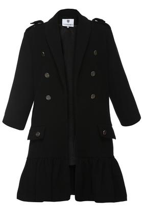 Płaszcz z falbaną czarny II PROJEKTANT Yuliya Babich
