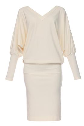 Sukienka nietoperz ecru PROJEKTANT Yuliya Babich