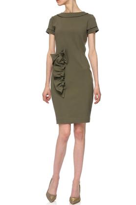 Sukienka z aplikacją khaki PROJEKTANT Yuliya Babich
