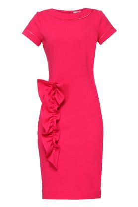 Sukienka z aplikacją różowa PROJEKTANT Yuliya Babich
