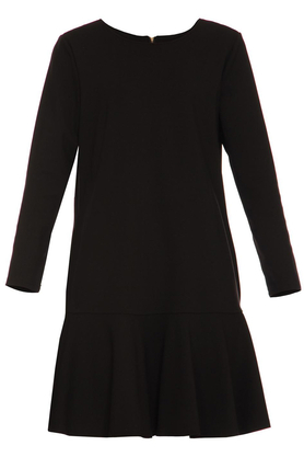 Sukienka z falbanką czarna PROJEKTANT Yuliya Babich