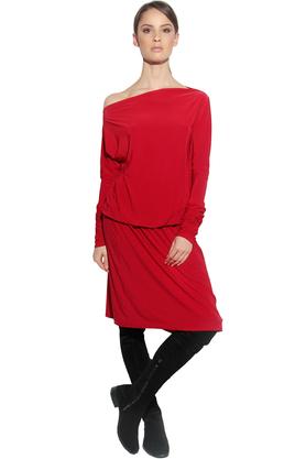 Sukienka Rossmery odcięta gumką czerwona PROJEKTANT CAHA