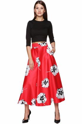 Spódnica midi kwiaty czerwona PROJEKTANT VerityHunt