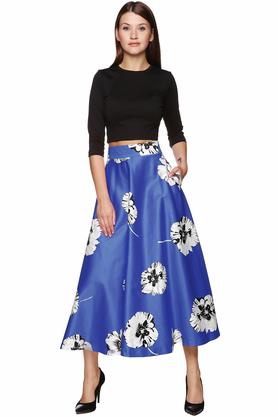 Spódnica midi kwiaty niebieska PROJEKTANT VerityHunt