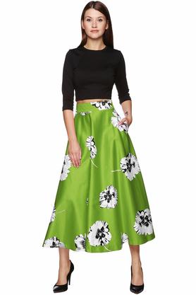 Spódnica midi kwiaty zielona PROJEKTANT VerityHunt