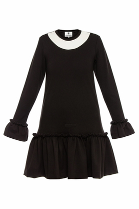 Sukienka czarna falbana III PROJEKTANT Yuliya Babich