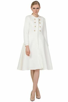 Płaszcz ecru z guzikami PROJEKTANT Yuliya Babich