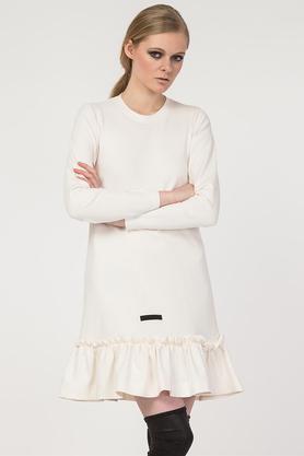 Sukienka ecru falbana PROJEKTANT Yuliya Babich