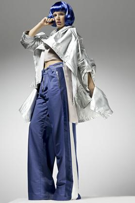 Spodnie szerokie z lampasami PROJEKTANT Monika Błotnicka