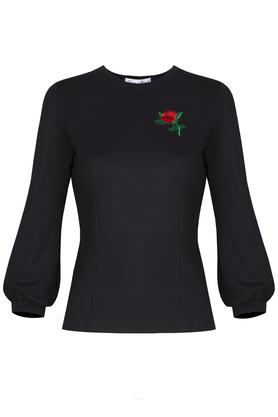Bluzka czarna z różą PROJEKTANT Kasia Miciak